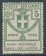 1924 REGNO ENTE PARASTATALE USATO ASSIC INF LAVORO 5 CENT SASSONE 17 - M49-7 - 1900-44 Vittorio Emanuele III
