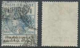 1924 REGNO ENTE PARASTATALE USATO ASSICURAZ. SOCIALI 1 LIRA SASSONE 29 - M47-2 - 1900-44 Vittorio Emanuele III