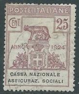 1924 REGNO ENTE PARASTATALE USATO ASSICURAZ. SOCIALI 25 CENT SASSONE 26 - M47 - 1900-44 Vittorio Emanuele III