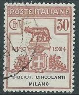 1924 REGNO ENTE PARASTATALE USATO BIBLIOT CIRCOLANTI MILANO 30 CENT SASS 15 M47 - 1900-44 Vittorio Emanuele III