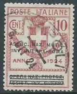 1924 REGNO ENTE PARASTATALE USATO INV GUERRA ROMA 10 CENT SASSONE 71 - M48-3 - 1900-44 Vittorio Emanuele III