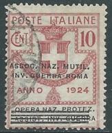 1924 REGNO ENTE PARASTATALE USATO INV GUERRA ROMA 10 CENT SASSONE 71 - M48-4 - 1900-44 Vittorio Emanuele III