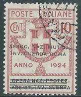 1924 REGNO ENTE PARASTATALE USATO INV GUERRA ROMA 10 CENT SASSONE 71 - M48-5 - 1900-44 Vittorio Emanuele III