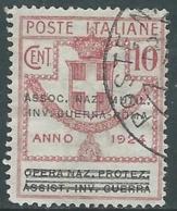 1924 REGNO ENTE PARASTATALE USATO INV GUERRA ROMA 10 CENT SASSONE 71 - M48-6 - 1900-44 Vittorio Emanuele III