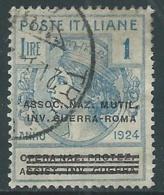 1924 REGNO ENTE PARASTATALE USATO INV GUERRA ROMA 1 LIRA SASSONE 75 - M48-3 - 1900-44 Vittorio Emanuele III