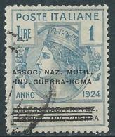 1924 REGNO ENTE PARASTATALE USATO INV GUERRA ROMA 1 LIRA SASSONE 75 - M48-4 - 1900-44 Vittorio Emanuele III