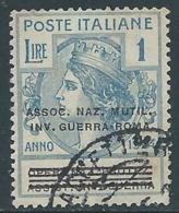 1924 REGNO ENTE PARASTATALE USATO INV GUERRA ROMA 1 LIRA SASSONE 75 - M48-5 - 1900-44 Vittorio Emanuele III