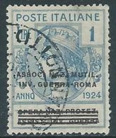 1924 REGNO ENTE PARASTATALE USATO INV GUERRA ROMA 1 LIRA SASSONE 75 - M48-6 - 1900-44 Vittorio Emanuele III