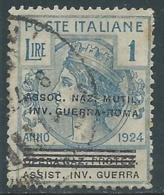 1924 REGNO ENTE PARASTATALE USATO INV GUERRA ROMA 1 LIRA SASSONE 75 - M48-7 - 1900-44 Vittorio Emanuele III