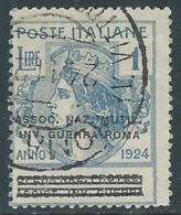 1924 REGNO ENTE PARASTATALE USATO INV GUERRA ROMA 1 LIRA SASSONE 75 - M48-9 - 1900-44 Vittorio Emanuele III