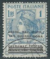 1924 REGNO ENTE PARASTATALE USATO INV GUERRA ROMA 1 LIRA SASSONE 75 - M49-2 - 1900-44 Vittorio Emanuele III