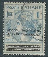 1924 REGNO ENTE PARASTATALE USATO INV GUERRA ROMA 1 LIRA SASSONE 75 - M49-4 - 1900-44 Vittorio Emanuele III