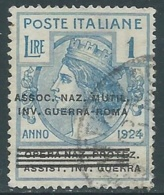 1924 REGNO ENTE PARASTATALE USATO INV GUERRA ROMA 1 LIRA SASSONE 75 - M49-5 - 1900-44 Vittorio Emanuele III