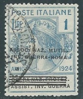 1924 REGNO ENTE PARASTATALE USATO INV GUERRA ROMA 1 LIRA SASSONE 75 - M49-6 - 1900-44 Vittorio Emanuele III