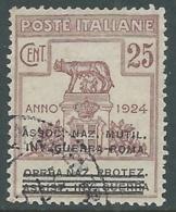 1924 REGNO ENTE PARASTATALE USATO INV GUERRA ROMA 25 CENT SASSONE 72 - M48-3 - 1900-44 Vittorio Emanuele III