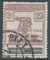 1924 REGNO ENTE PARASTATALE USATO INV GUERRA ROMA 25 CENT SASSONE 72 - M48-5 - 1900-44 Vittorio Emanuele III