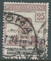 1924 REGNO ENTE PARASTATALE USATO INV GUERRA ROMA 25 CENT SASSONE 72 - M48-7 - 1900-44 Vittorio Emanuele III