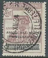 1924 REGNO ENTE PARASTATALE USATO INV GUERRA ROMA 25 CENT SASSONE 72 - M48-8 - 1900-44 Vittorio Emanuele III
