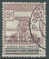 1924 REGNO ENTE PARASTATALE USATO INV GUERRA ROMA 25 CENT SASSONE 72 - M48-9 - 1900-44 Vittorio Emanuele III