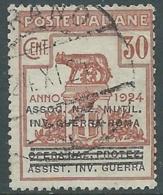 1924 REGNO ENTE PARASTATALE USATO INV GUERRA ROMA 30 CENT SASSONE 73 - M47-6 - 1900-44 Vittorio Emanuele III
