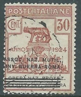 1924 REGNO ENTE PARASTATALE USATO INV GUERRA ROMA 30 CENT SASSONE 73 - M47-7 - 1900-44 Vittorio Emanuele III