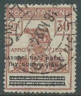 1924 REGNO ENTE PARASTATALE USATO INV GUERRA ROMA 30 CENT SASSONE 73 - M48-3 - 1900-44 Vittorio Emanuele III