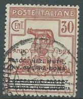 1924 REGNO ENTE PARASTATALE USATO INV GUERRA ROMA 30 CENT SASSONE 73 - M48-4 - 1900-44 Vittorio Emanuele III