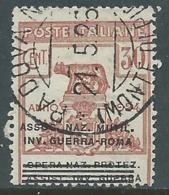 1924 REGNO ENTE PARASTATALE USATO INV GUERRA ROMA 30 CENT SASSONE 73 - M48-5 - 1900-44 Vittorio Emanuele III