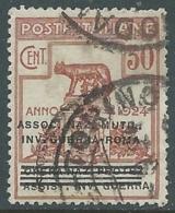 1924 REGNO ENTE PARASTATALE USATO INV GUERRA ROMA 30 CENT SASSONE 73 - M48-7 - 1900-44 Vittorio Emanuele III