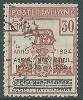 1924 REGNO ENTE PARASTATALE USATO INV GUERRA ROMA 30 CENT SASSONE 73 - M48-8 - 1900-44 Vittorio Emanuele III
