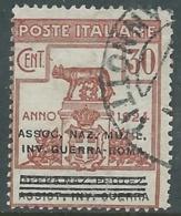 1924 REGNO ENTE PARASTATALE USATO INV GUERRA ROMA 30 CENT SASSONE 73 - M48-9 - 1900-44 Vittorio Emanuele III