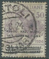 1924 REGNO ENTE PARASTATALE USATO INV GUERRA ROMA 50 CENT SASSONE 74 - M48-2 - 1900-44 Vittorio Emanuele III