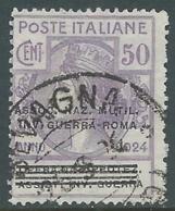 1924 REGNO ENTE PARASTATALE USATO INV GUERRA ROMA 50 CENT SASSONE 74 - M48-5 - 1900-44 Vittorio Emanuele III