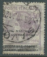 1924 REGNO ENTE PARASTATALE USATO INV GUERRA ROMA 50 CENT SASSONE 74 - M48-6 - 1900-44 Vittorio Emanuele III