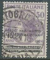 1924 REGNO ENTE PARASTATALE USATO INV GUERRA ROMA 50 CENT SASSONE 74 - M48-7 - 1900-44 Vittorio Emanuele III