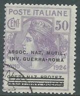 1924 REGNO ENTE PARASTATALE USATO INV GUERRA ROMA 50 CENT SASSONE 74 - M48-9 - 1900-44 Vittorio Emanuele III
