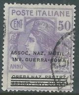 1924 REGNO ENTE PARASTATALE USATO INV GUERRA ROMA 50 CENT SASSONE 74 - M49 - 1900-44 Vittorio Emanuele III