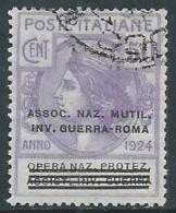 1924 REGNO ENTE PARASTATALE USATO INV GUERRA ROMA 50 CENT SASSONE 74 - M49-2 - 1900-44 Vittorio Emanuele III