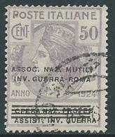1924 REGNO ENTE PARASTATALE USATO INV GUERRA ROMA 50 CENT SASSONE 74 - M49-3 - 1900-44 Vittorio Emanuele III