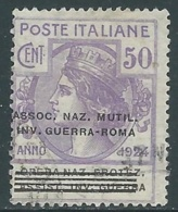1924 REGNO ENTE PARASTATALE USATO INV GUERRA ROMA 50 CENT SASSONE 74 - M49-5 - 1900-44 Vittorio Emanuele III