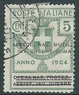 1924 REGNO ENTE PARASTATALE USATO INV GUERRA ROMA 5 CENT SASSONE 70 - M48-9 - 1900-44 Vittorio Emanuele III