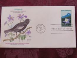 USA 1977 FDC Cover Denver - Colorado Centennial State - Bird - Flower - Etats-Unis