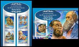 GUINEA 2017 - Charles Darwin - Mi 12690-3 + B2834; CV=40 € - Prehistorie