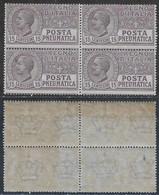 Italia Italy 1913 Regno Pneumatica Leoni C15 Quartina Sa N.PN2 Nuova Integra MNH ** - 1900-44 Vittorio Emanuele III