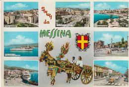 58-Messina-Saluti Da...7 Vedutine + Carretto Siciliano-v-1967 X Catania - Messina