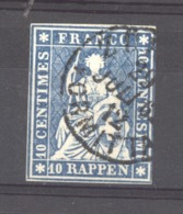 Suisse  :  Yv  27  (o)      ,    N3 - 1854-1862 Helvetia (Ungezähnt)