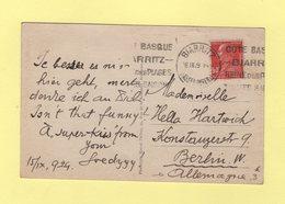 Carte Postale Destination Allemagne - 90c Berthelot - 26-9-1929 - Biarritz Basses Pyrenees - 1921-1960: Moderne