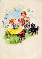 Bambina - E Bambino - Con Cani - Formato Grande Non Viaggiata - E 12 - Scene & Paesaggi
