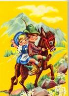 Bambina - E Bambino - Con Asino - Formato Grande Non Viaggiata - E 12 - Scene & Paesaggi