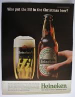 HEINEKEN BEER. ORIGINAL  1963 MAGAZINE ADVERT - Advertising